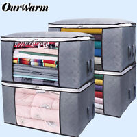 Large Clothes Storage Bags Ziped Organizer Containers Wardrobe Cube Closet Boxes