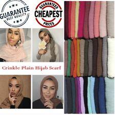 New Style Crinkle Plain Hijab Scarf Maxi Headscarf Crimp Scarves Shawl Ruffle