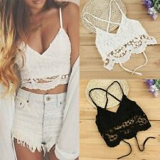 Sexy Womens Lace Crochet Floral Bralette Bralet Bra Bustier Crop Top Cami Tank
