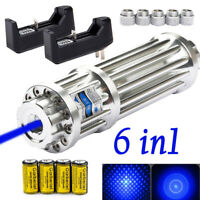 Military 405nm 1mW Blue Laser Pointer Pen Visible Beam Light+Battery+USA Charger