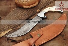 12.5 INCHES DAMASCUS BOWIE HUNTING KNIFE HANDLE* BONE* DOUBLE STEEL CLIP MOSAIC