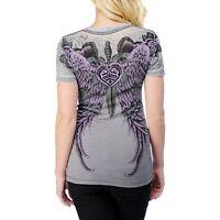 Sinful AFFLICTION Womens T-Shirt PISMO Wings RHINESTONES Tattoo Biker $58