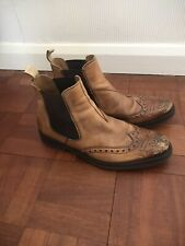 Mens Luis Gonzalo Brown Distresses Leather Brogue Ankle Boot size UK 11