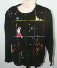 Onque Casuals Women's S L Black Christmas Sweater Zip Front Santa Reindeer Gift