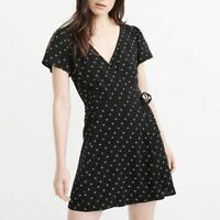 Abercrombie and Fitch Size Small Wrap V Neck Black Mini Dress!