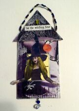 Halloween Witch altered art mixed media OOAK Halloween Decoration Ornament