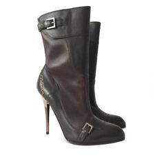 NEW $1254 SALVATORE FERRAGAMO Lince Stiletto Mid-Calf Boots - Brown - Size 6B