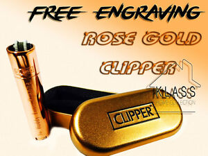 Personalised Traditional Rose Gold Metal Clipper Cigarette Lighter,Engraved Gift