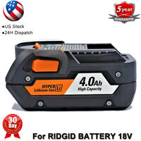 FOR RIDGID BATTERY 18V 4.0Ah HYPER LI-ION R840087 R840085 R840086 R840083 18VOLT