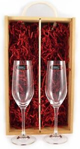 Two Champagne Riedel Crystal Glasses in a twin wooden box