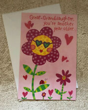 Happy Birthday Card For A Great Granddaughter From Great Grandma Glitter Flowers