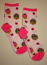 NEW Betsey Johnson Sweet Treats CUPCAKE Cherry Crew Socks Pink size 9-11