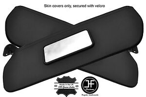 BLACK STITCHING 2X SUN VISORS REAL LEATHER COVERS FITS CHEVROLET C10 1973-1987