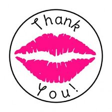 "48 THANK YOU PINK LIPS ENVELOPE SEALS LABELS STICKERS 1.2"" ROUND"