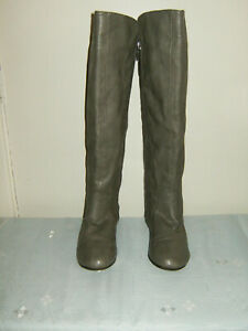 Size 4.5 ( US7W) Grey Zip Fasten Fleece Lined  'Id Required' Knee Boots V/G/Cond
