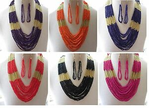 Boho Multi Strand Seed Bead Necklace & Earrings, Ethnic, Choose From 13 Colours
