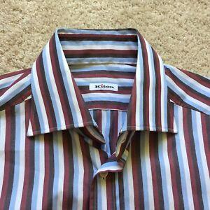 Kiton Burgandy Blue Striped Button Up Dress Shirt Mens 15.5 39 Cotton