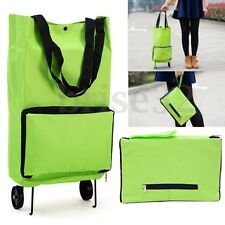 Protable Shopping Trolley Bag With Wheels Foldable Cart Rolling Grocery Green