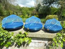 Food Cover Carrier Fruit Bowl - Set of 3 Bamboo Netting Food Covers - Blue