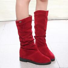 Winter Boots Women Round Toe Mid-calf Princess Sweet Flat Flock Shoes Snow Boots