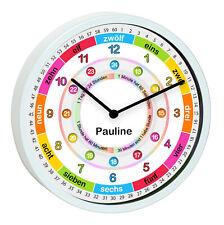 Lernuhr Wanduhr Kinder Kinderzimmer Uhr Mädchen bunt Uhrzeit lernen Name