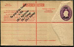 "1930 (ACSC.RE24B) ""FIVE PENCE"" on 4½d Violet KGV (oval) 18mm setting; fresh Mint"