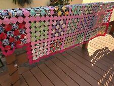 Antique Old Yo-Yo Quilt Top Coverlet Crazy Blanket Twin Full Bedspread 1930's