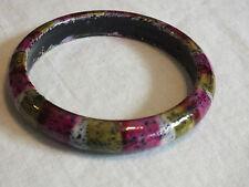 Beautiful Bangle Bracelet Plum Green Black White Plastic Splattered Stripes CUTE