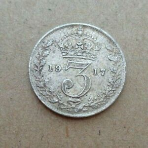 1917 GB 3p three pence Great Britain England .925 silver Coin KM# 813