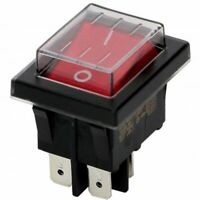 Red Rocker Switch With Water Proof Cover, 4 Pins, 16A 250V AC ,DPST UK