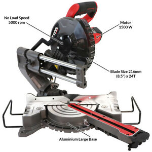 Excel 216mm Compound Mitre Saw Sliding Bevel Cut with Laser 1500W
