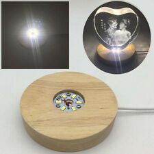 7 LED Light Unique 3D Electric USB Light Base Crystal Display Stand+Adapter UK!