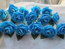 20 Sky Blue Diamante Rose Buttonholes Wedding Flowers Artifical