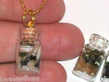1 Miniature Dollhouse Aquarium plants Glass Pendant charm Bottle with Necklace
