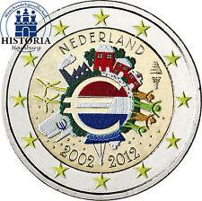 Paesi Bassi 2 EURO MONETA COMMEMORATIVA 2012 FB. 10 Anni Euro Contanti in colore
