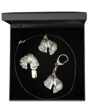 Kerry Blue Terrier - silver plated set with a dog in box, quality, Art Dog Usa