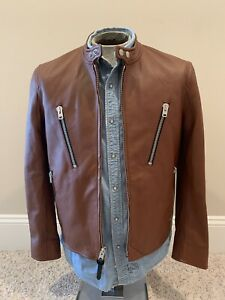 NWT COACH Men's LEATHER MOTO CAFE RACER Hipster Jacket Large 50 Retail $1100