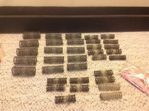 34 Assorted Lot vintage Spring Mesh Hair Curlers Style Brush Rollers & pins