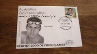 2000 SYDNEY OLYMPIC GAMES AUSTRALIAN GOLD MEDALLIST ALPHA FDC, GRANT HACKETT