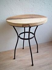 Beistelltisch Blumentisch Tisch – Metall Eisen – Platte altes Ulmenholz
