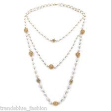 Elegant Gold Tone Simulated White Pearl & Rhinestone Long Layered Necklace