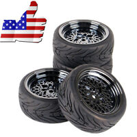 1 Set 4PCS Rubber Tires Mesh Wheel Rim For HSP HPI RC 1:10 On Road Racing Car US