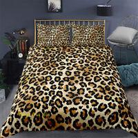 Linen Single/Double/Queen/King Bed Doona Duvet Quilt Cover Set Leopard Print