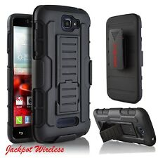 For LG Optimus Zone 3/K4/Spree/Rebel Phone Case Hybrid Holster Stand Cover