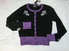 Cat Cardigan Black Purple. Size 12 14 rockabilly goth
