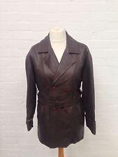 Da Donna Vintage Stile Safari Cappotto in Pelle / Giacca-UK14-ottime condizioni