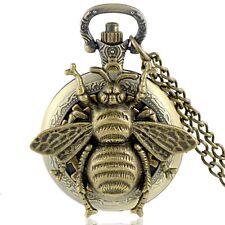 Steampunk Bee Antique Pocket Watch Quartz Necklace Pendant Chain Men Gift Retro