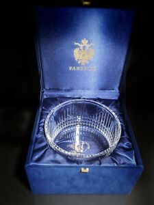 """Faberge Clear Crystal Bowl 8.5"""" diameter"""