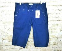 NWT Zucca Travail French Womens Sailor Button Bermuda Twill Shorts Blue Size 2