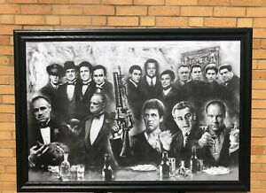 Scarface Godfather Soprano Gangsters Solid Wood Framed Textured Picture Print
